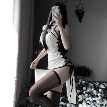 Erotic Anime Cosplay Costume Black and white Ladies Dress Women Lace Outfit Fancy Slim Fit Open Chest Uniform Sexy Cheongsam - discount item  30% OFF Costumes & Accessories