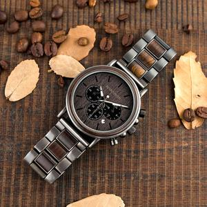 Image 5 - BOBO BIRD Luxury Wood Stainless Steel Men Watch Stylish Wooden Timepieces Chronograph Quartz Watches relogio masculino Gift Man