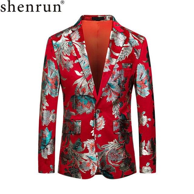 Shenrun hommes rouge Blazer veste mode Slim Fit haute qualité blazers occasionnels marié vestes hôte chanteur scène robe M 6XL grande taille