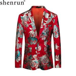 Image 1 - Shenrun الرجال الأحمر سترة الأزياء سليم صالح عالية الجودة عارضة الحلل العريس جاكيتات المضيف المغني المرحلة اللباس M 6XL زائد حجم