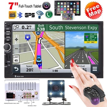 2 Din 7'' HD Touch Screen Bluetooth Car Multimedia Player+GPS Navigaiton+Camera Map Stereo Radios FM image