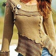 Винтажный свитер, женские вязаные свитера с длинным рукавом для женщин, топы, осенне зимняя одежда, Женский пуловер 2020, джемпер, женские свитера