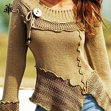 Sweter w stylu Vintage z dzianiny damskie swetry na długi rękaw dla kobiet topy jesień zima ubrania damskie 2020 swetry Jumper Woman swetry