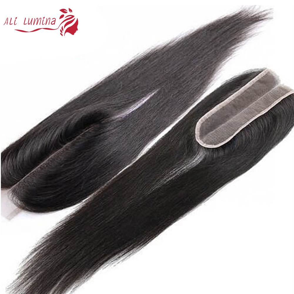 2X6 Closure Straight  Closure  Hair Lace Closure With Baby Hair Pre Plucked Bleached Knots  Natural Color 2