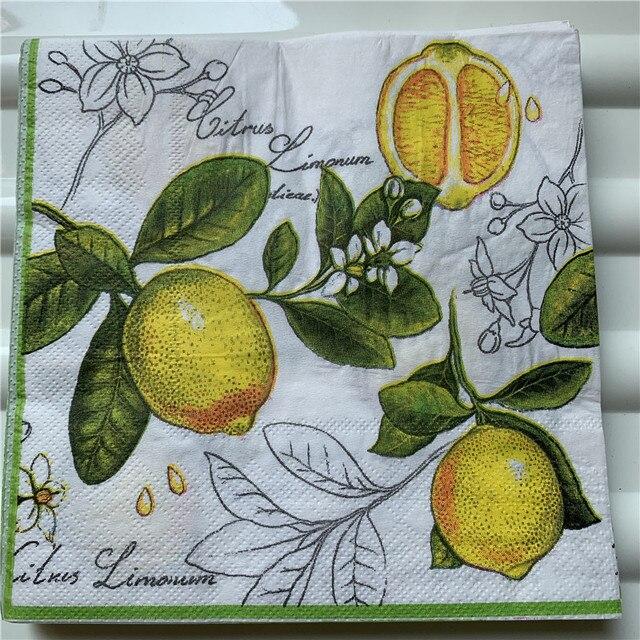 Guardanapos de papel decoupag festa de aniversário do casamento natal tecido vintage flor limão listrado beautifly serviletas decoração da mesa