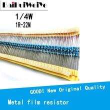 100 шт./лот 1/4 Вт 1R ~ 22 м 1% металлический пленочный резистор 100R 220R 1K 1,5 K 2,2 K 4,7 K 10K 22K 47K 100K 100 220 1K5 2K2 4K7 сопротивление