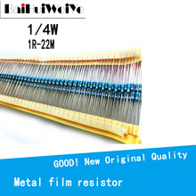 100PCS/LOTE 1/4W 22 1R ~ 1% M Metal film resistor 100R 220R 1K 1.5K 2.2K 4.7K 47 22 10K K K 100K 100 220 1K5 2K2 4K7 ohm resistência
