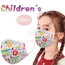 50pc adorável impressão crianças máscara facial descartável máscara 3 dobras orelha laço máscara moda mascarilla desecable para crianças facemask