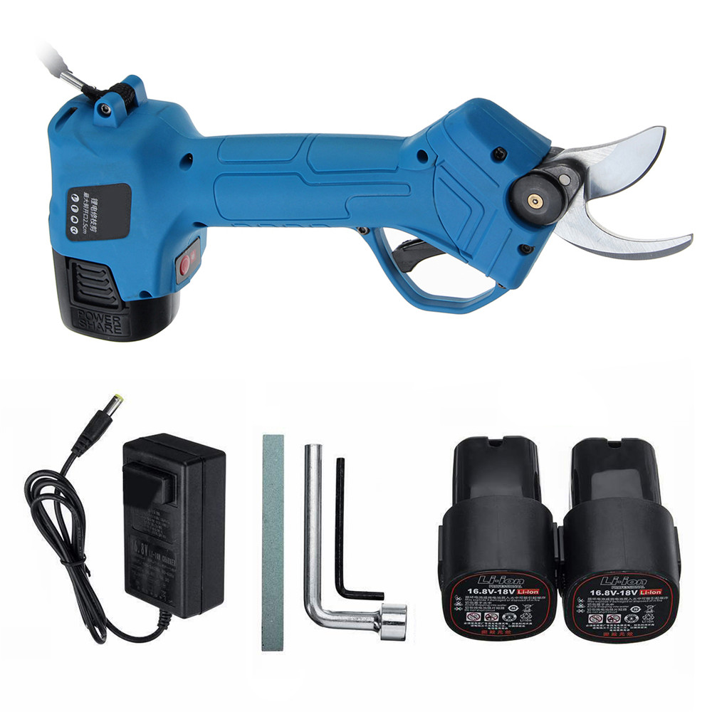 Electric Pruning Scissors Pruning Shears 500W 16.8V Rechargeable Garden Pruner Secateur Branch Cutter Cutting Tool + 2x Battery
