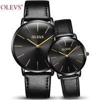OLEVS Brand Lover Watches Quartz Couple Watch Female Ladies Genuine Leather Women Waterproof 30m Wristwatches Montre Homme