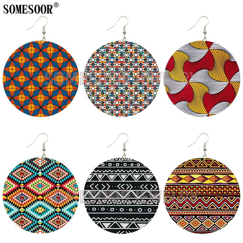 SOMESOOR African Wax Fabric Fleurs the Yards Ankara Pattern Both Sides Printing Wooden Drop Round Earrings For Women