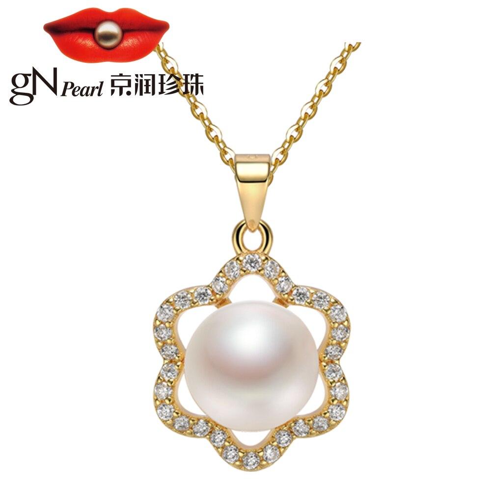GN Perle Weiß Natürliche Süßwasser 8-9mm Perle Anhänger Halsketten 925 Silber Gold Überzogene Blume Zirkonia Halsband Kette gNPearl