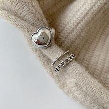Anéis de coração para mulheres, vintage, elegante, simples, suave, cor prata, amor, personalidade, moças, anéis abertos