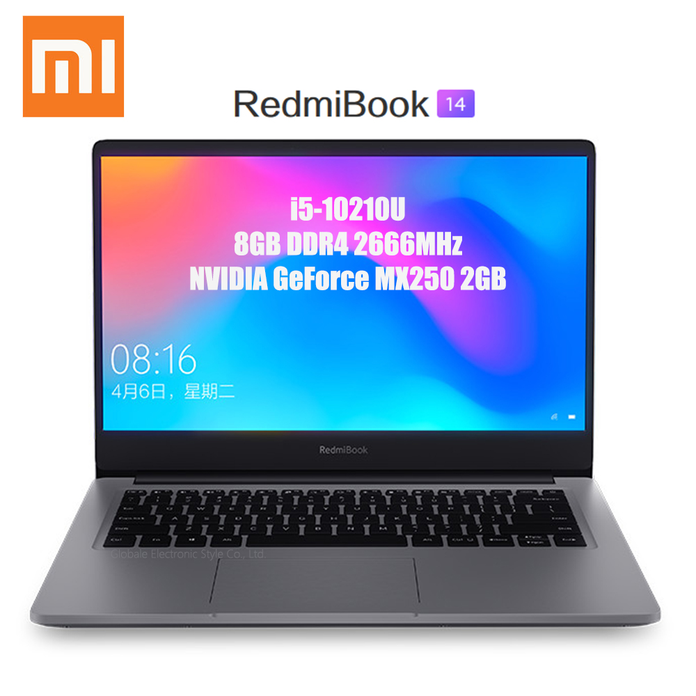 Origianl Xiaomi RedmiBook 14 pouces ordinateur portable Windows 10 Intel Core i5-10210U 4.2GHz CPU 8GB DDR4 RAM 512GB SSD ordinateur portable