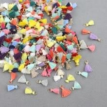 60 peças de fio de algodão mini borla guarnição, pingente diy, materiais de artesanato, joias, acessórios, pendurar anel, pequena franja aparas de cabelo