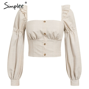 Image 5 - Simplee Ruffled off shoulder women crop tops Autumn elegant button lantern sleeve female tops Party wear ladies casual tops 2019