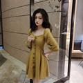 Nice Summer Tide Lantern Sleeve Empire Mini Dress Women Square Neck Sexy A-line Dresses Fashion Solid Dress