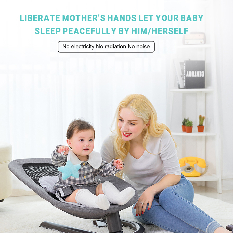 H9a159365f15845a1b2a53126b487c646l Newborn Baby Rocking Chair Baby Bed Swing Soothing Music Chair Non-electric Manual Swing Shaker Infant Cradle