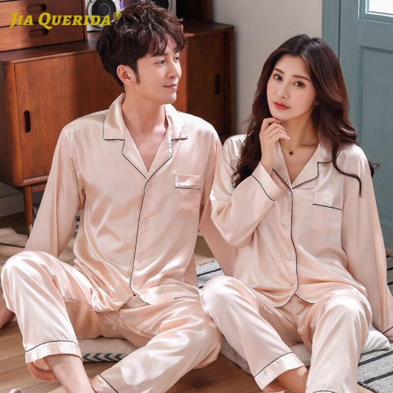 New Front Pocket Satin Pajamas Pajamas Set Homesuit Homeclothes Fashion Style Turn Down Collar Sleepwear Imitated Silk Couple