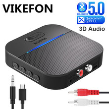 20H Play 50M Long Rang Bluetooth 5.0 RCA Receiver With 3D Surround aptX LL 3.5mm Jack Aux Wireless Adapter Car Audio Transmitter