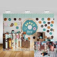 Rosquinhas parede recém nascido crianças aniversário arte fotografia pano de fundo doce donuts loja retrato do bebê fundo photo studio photocall