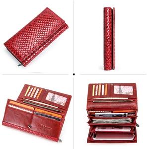 Image 4 - 連絡の本革の女性の財布ファッション女性コイン財布portomonee用のファスナーポケットマネークラッチ財布