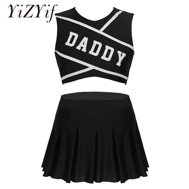 Frauen Charming Cheerleader Cosplay Kostüm Schule Mädchen Sexy Cosplay Rundhals Ärmel Crop Top mit Mini Plissee Rock
