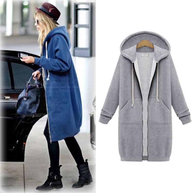 Women Long Jacket Hoodies Female Casual Coat Winter Hoody Fleeces Velvet Inside Grey Jacket Warm Coat Plus Size Jacket MK-9802