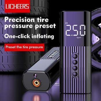 Licheers Mini pompka samochodowa sprężarka przenośna cyfrowa kompresor do opon samochodowych 60W 12V światło flash led do samochodów motocyklowe piłki rowerowe tanie i dobre opinie Pompy 550g 6 1cm Inflatable Pump 0inch 4 3cm 15cm