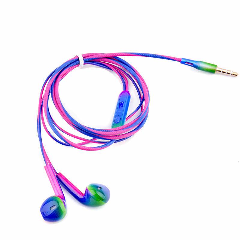 Nowy przyjazd 3.5mm słuchawki douszne słuchawki kolor gradientu słuchawki przenośny sprzęt Audio i wideo dla Xiaomi dla Huawei dla Samsung