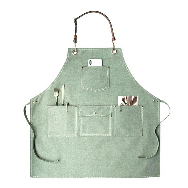 2020 churrasco denim avental de lona bib couro chef cozinha avental para mulheres bolsos casa barbeiro cozinhar café restaurante logotipo personalizado