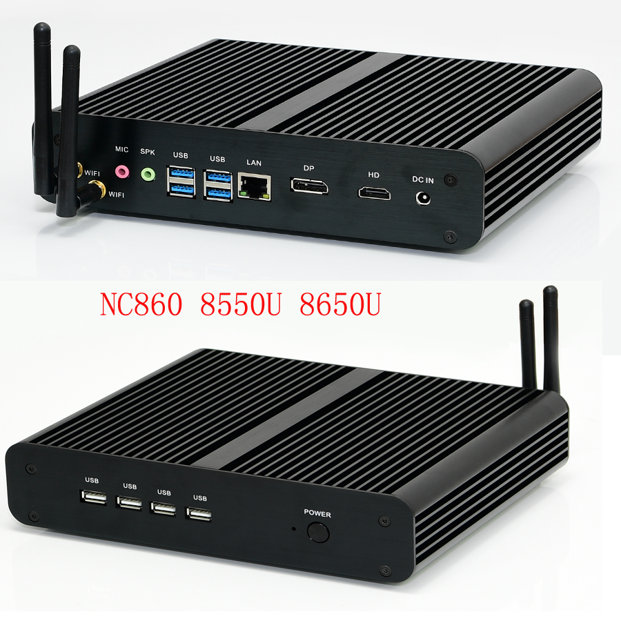 Fanless Mini Computer Intel I7 8565U/7560U I5 8265U/7260U 2*DDR4 Msata+M.2 PCIE Mini PC Windows 10 HTPC Nuc VGA DP HDMI