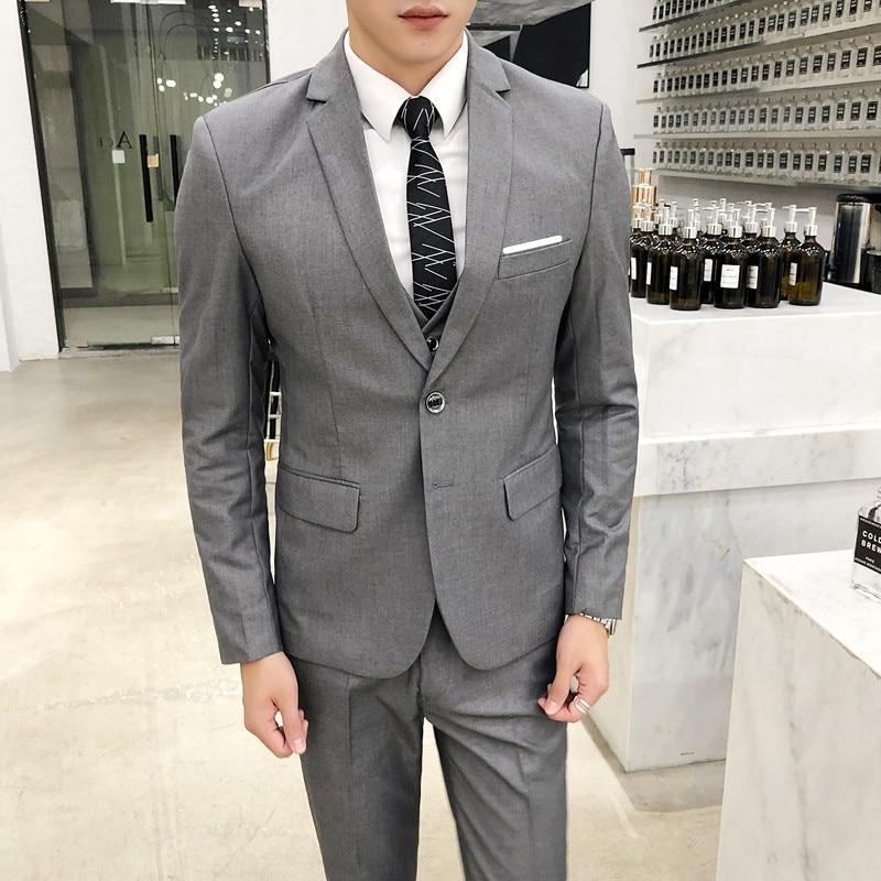 ( Jacket + Vest + Pants ) Mens Fashion Boutique Solid Color Business Suit Three-piece Suit Groom Wedding Dress Formal Suit Gray