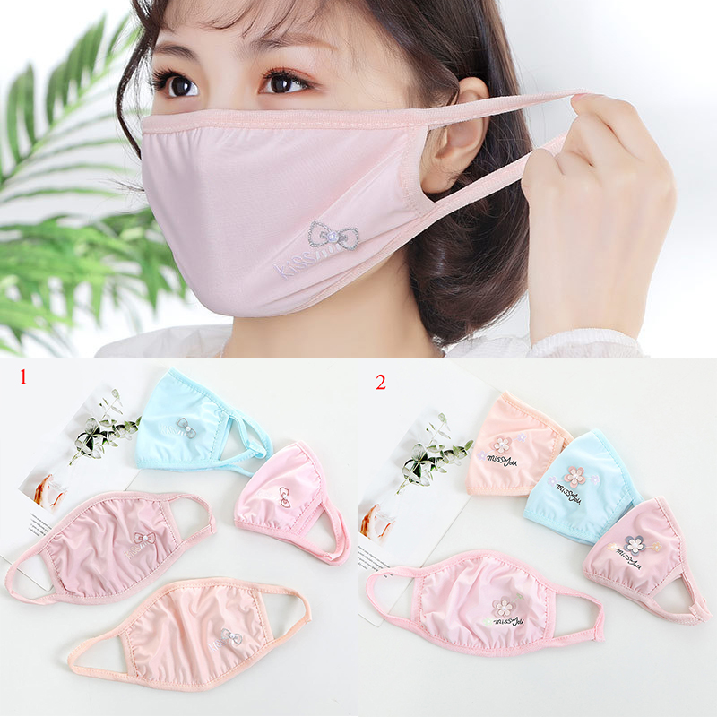 2020 Summer Sunscreen Mouth Masks Pink Floral Lace Anti Dust Mask Washable Anti-UV Mouth-muffle Lady Dustproof Face Mouth Mask