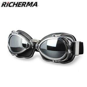 Image 1 - Winddicht Vintage Motocross Goggles Männer Anti Uv Motorrad Sicherheit Glasse Steampunk Sonnenbrille Für Dirt Bike Moto ATV Off Road