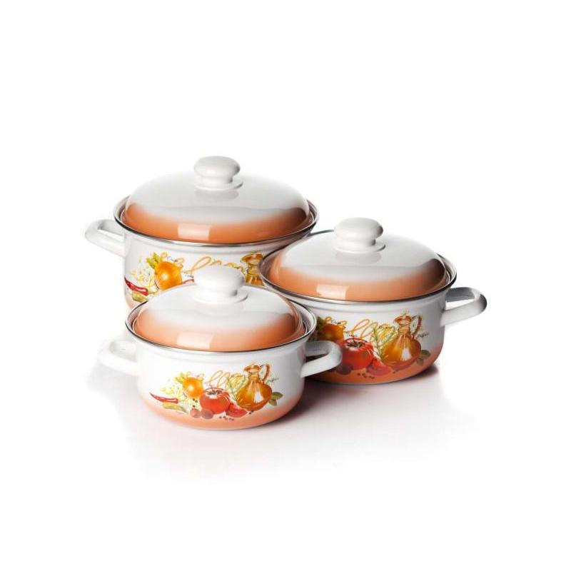 A Set Of pans Лысьвенские enamel, Italian cuisine, with plating italian berlitz reference set