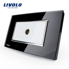 Livolo Luxury White Crystal Glass Panel, Push Button Home Wall Switch,Computer,tel socket plugs, dimmer switch ,SATV wall socket