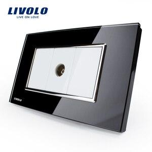 Image 1 - Livolo יוקרה לבן זכוכית קריסטל לוח, לדחוף כפתור בית מתג קיר, מחשב, טל המתחבר, עמעם, SATV קיר שקע