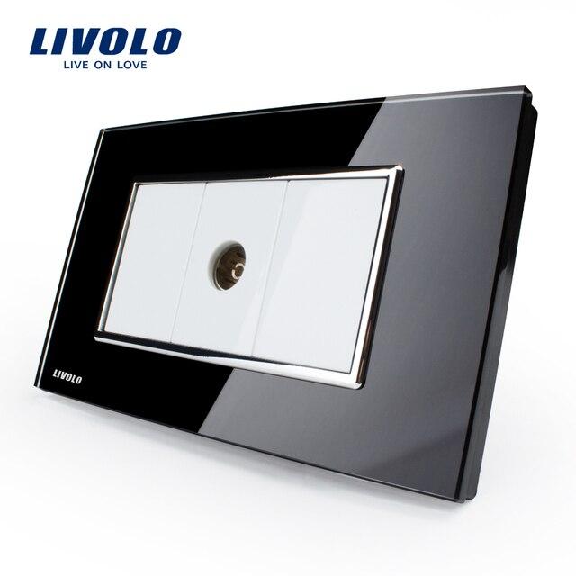 Livolo יוקרה לבן זכוכית קריסטל לוח, לדחוף כפתור בית מתג קיר, מחשב, טל המתחבר, עמעם, SATV קיר שקע