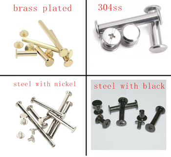 10-20pcs/lot m5x4-30 stainless steel/ brass plated/ nickel plated/ black Sex bolt chicago screw book binding post screws image