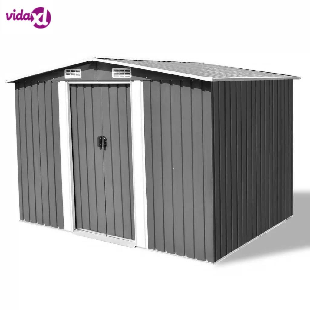 VidaXL Garden Storage Shed Grey Metal Garden Shed For Storing Wide Variety Of Tools Equipment  257x205x178 Cm