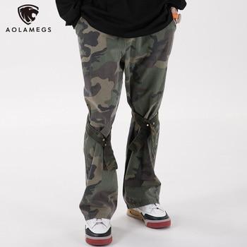 Aolamegs Flare Pants Men Camouflage Print Adjustable Ribbons Trousers Elastic Waist Retro Hip Hop High Street Fashion Streetwear