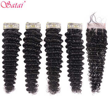 Satai Deep Wave 4 Bundles With Closure 100% Human Hair Bundles with Closure Brazilian Hair Weave Bundles Non-Remy Hair Extension - DISCOUNT ITEM  51% OFF All Category