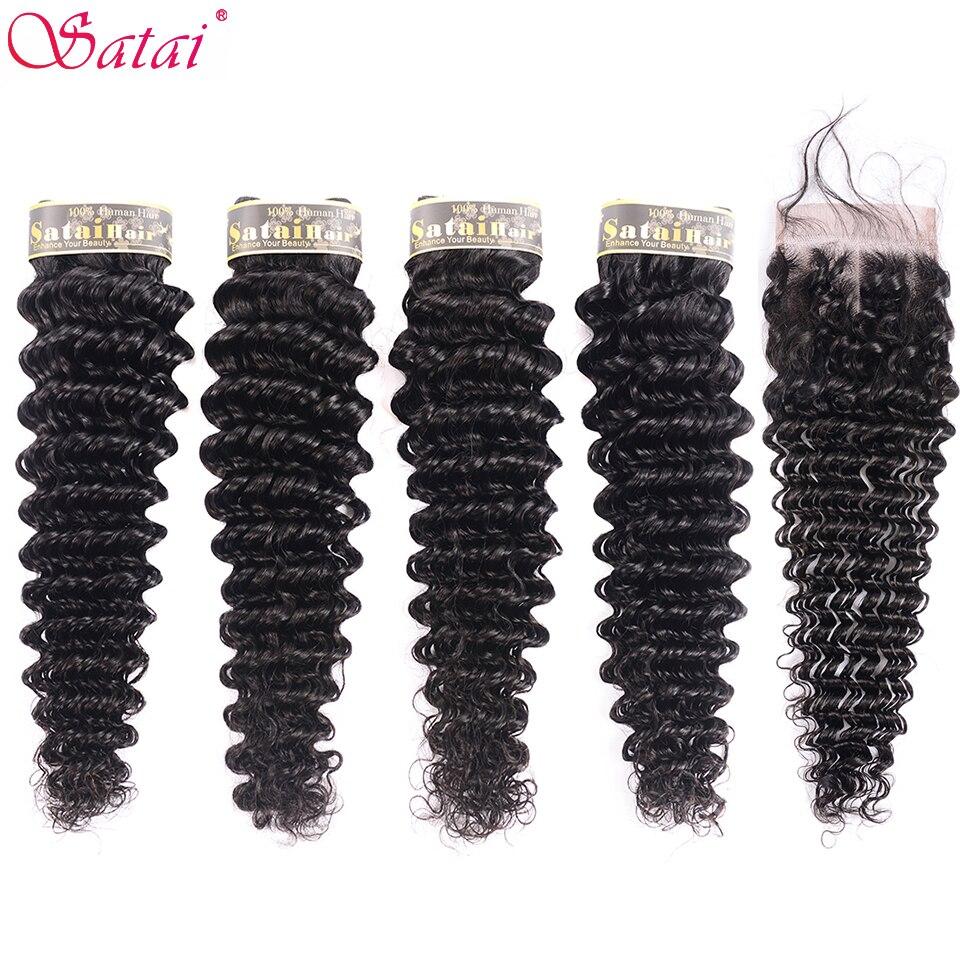 Satai głębokie Wave 4 zestawy z zamknięciem 100% człowieka wiązki włosów z zamknięcia brazylijski włosy wyplata wiązki włosy inne niż remy rozszerzenia w 3/4 pasma z siateczką od Przedłużanie włosów i peruki na AliExpress - 11.11_Double 11Singles' Day 1