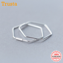 Trustdavis Newest 925 Sterling Silver Women's Jewelry Fashion Cute Hexagon Hoop Earrings For Fine Silver 925 Earring Gift DS133