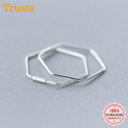 Trustdavis Newest 925 Sterling Silver Women's Jewelry Fashion Cute Hexagon Hoop Earrings For Fine Silver 925 Earring Gift DS133