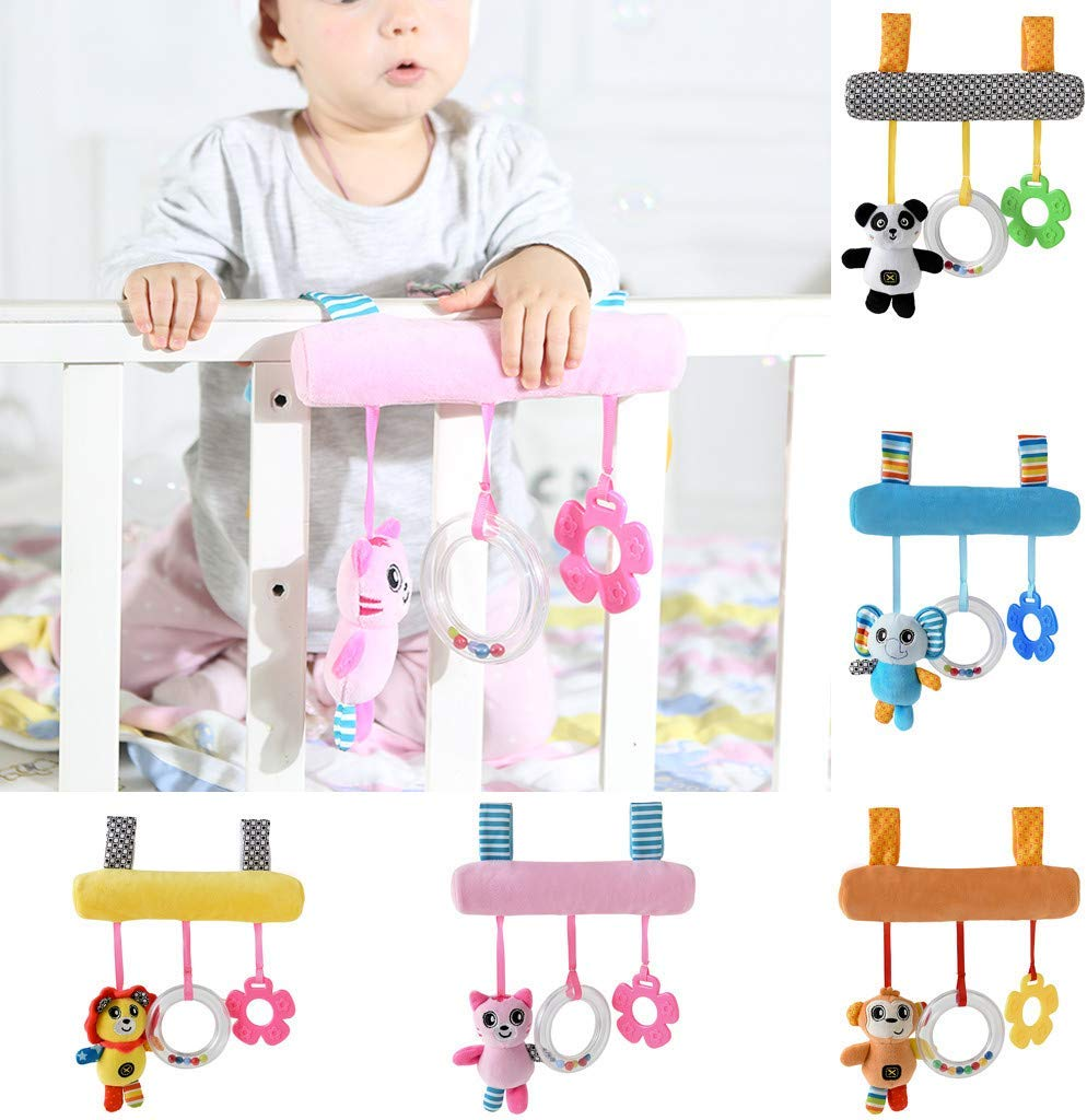 Baby Cartoon Animal Car Hanging Rattle Bed Bell Ring Bed Hanging Bed Around Toys Bed Spiral Cart Seat Pram Hanging Baby Toys