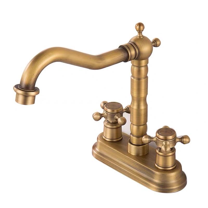 Двойная ручка ванная умывальник смесители матовый золото раковина кран% 2Ftaps Hot +% 26 Cold палуба навесная