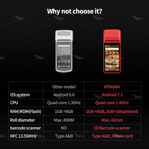 Image 2 - Ручной КПК ISSYZONEPOS, с 1D сканером штрих кода, КПК 4G, Wi Fi, с камерой, чековый принтер для мобильного заказа