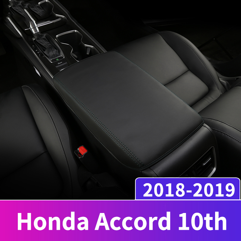 Leather Car Armrest Pad Covers Console Auto Seat Arm Rest Pad Protection Cushion Mat AT For Honda Accord 10th 2018 Accessories